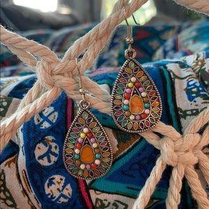 Jewelry - Orange druzy center tear drop earrings